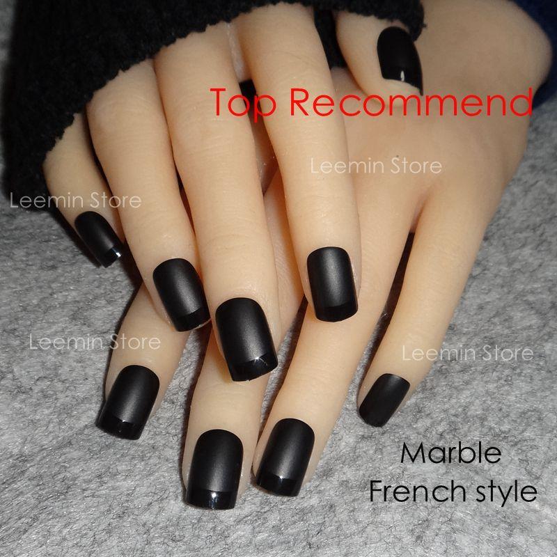 Schwarz matt Französisch short falsche nagel