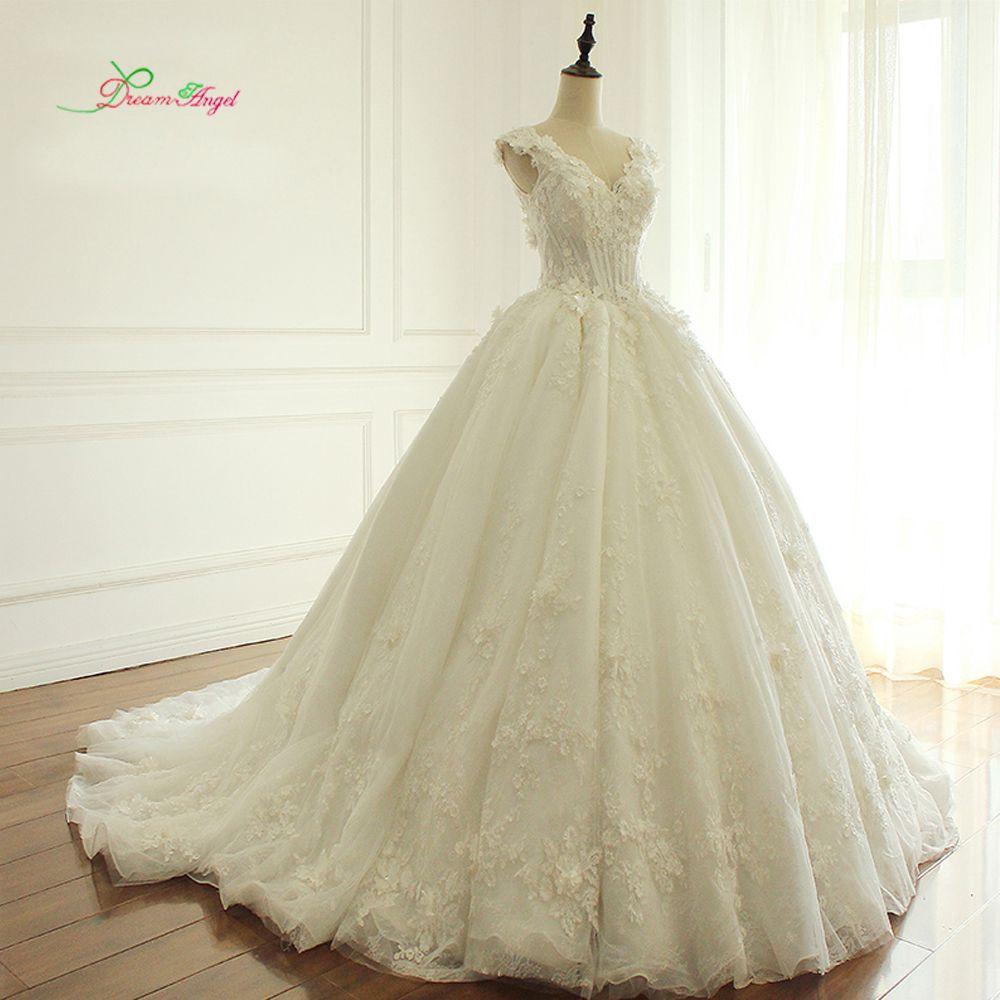 Traum Engel Elegante Blumen Spitze Prinzessin Hochzeitskleid 2017 Perlen Appliques Vintage Braut kleider Robe De Mariage Plus Größe