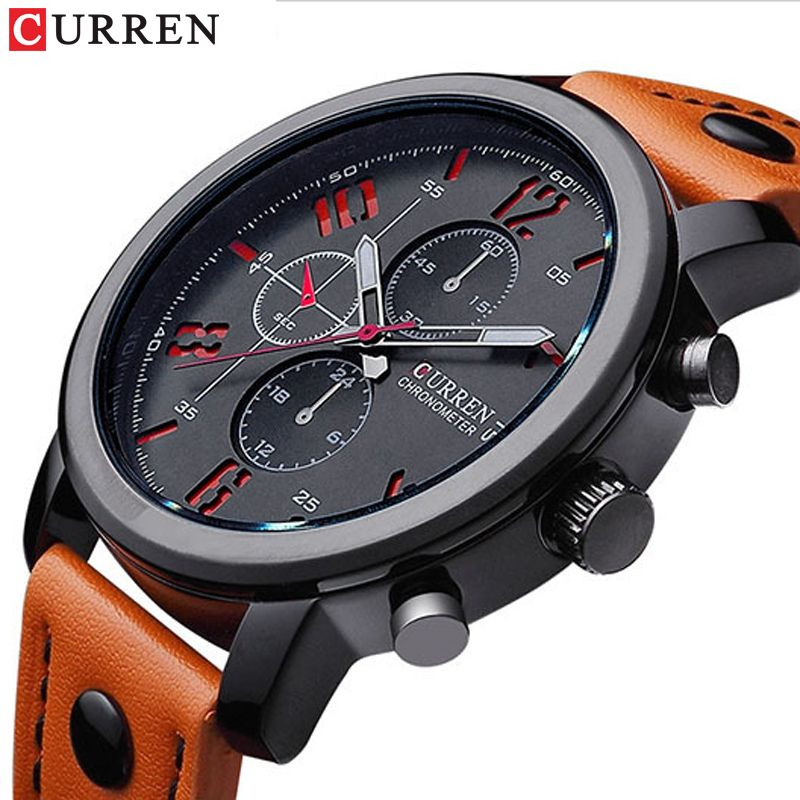 Men Watch Sport 30M Waterproof Fashion Wristwatch Montre Homme Genuine Leather <font><b>Relojes</b></font> Hombre 2018 Quartz Male Business Watch