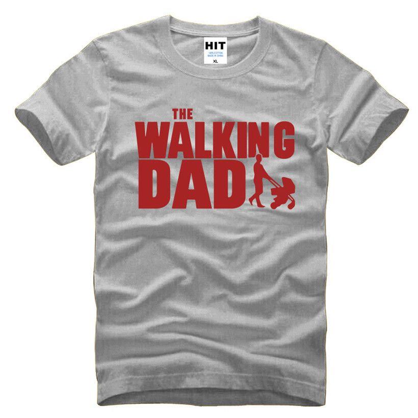 La marche papa fête des pères cadeau hommes drôle T-Shirt T-Shirt hommes 2016 nouveau à manches courtes coton nouveauté Top T-Shirt Camisetas Hombre
