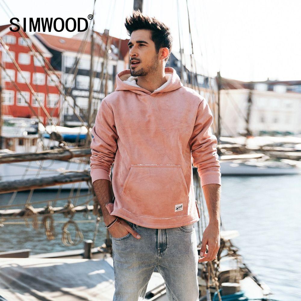 SIMWOOD 2018 Hot Sale Suede Hoodies For Men Hip Hop Fleece Jackets Hoodie Slim Fit Sweatshirt Tracksuit Pullover Male 180467
