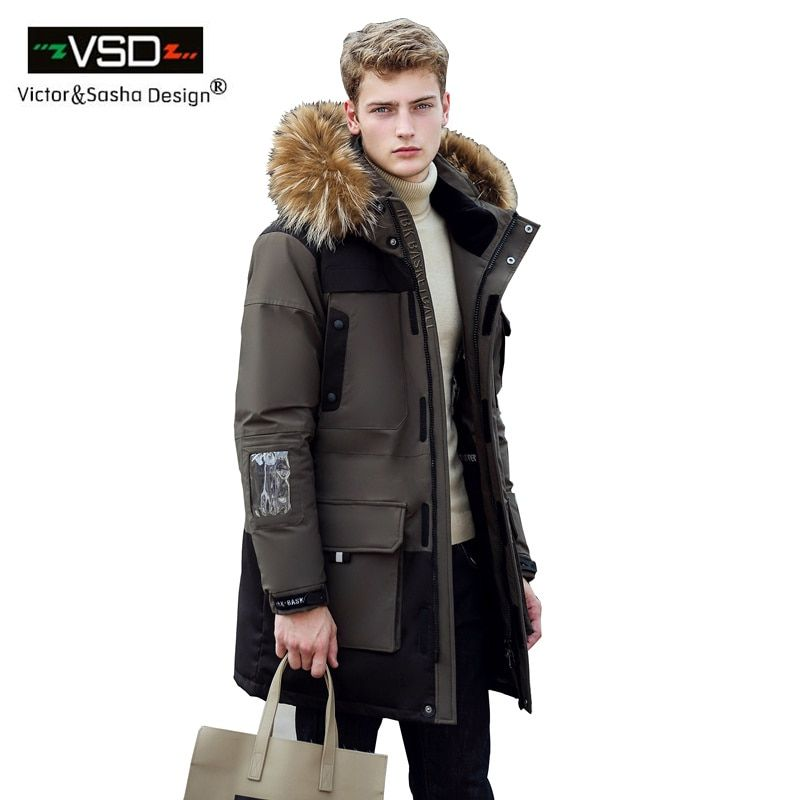 Victor & Sasha Design 2016 Neue Lange Winter Unten Jacke Mit Fell Kapuze Männer Kleidung der Casual Jacken Verdickung Parkas männlichen Große Mantel