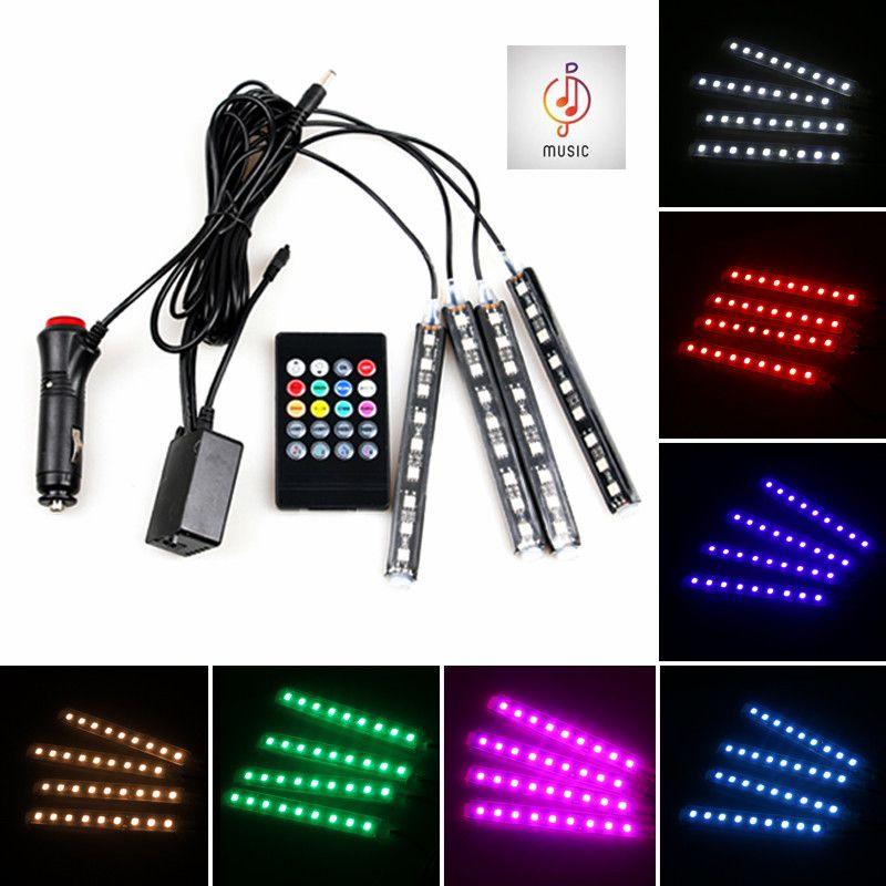 Voiture RGB LED Musique Voix Sound Control Voiture Intérieur Décoratif Atmosphère Auto RGB Voie Floor Light Bande Télécommande 12 V