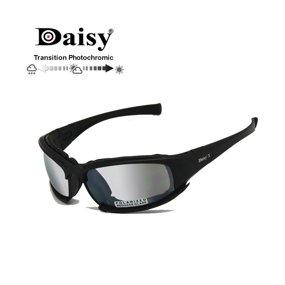 Transition Photochromic Polarized Daisy X7 Army Sunglasses Military Goggles 4 Lens Kit War Game <font><b>Tactical</b></font> Men's Glasses Sports