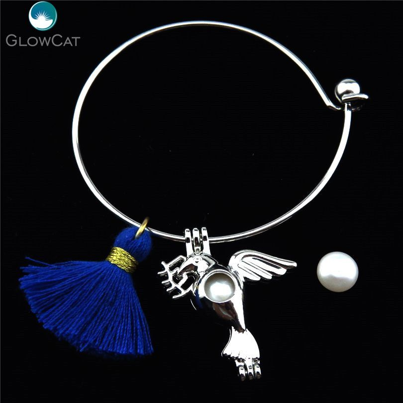 Stainless Steel Expandable Cuff Bangle Girl Peace Pigeon Tassel Charms Pearl Cage Perfume  Locket Bracelet Bangles KB62