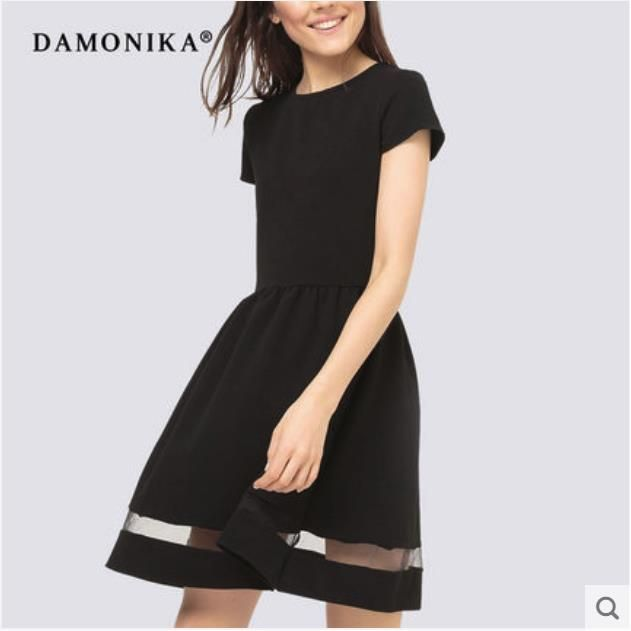 2018 new European and American fashion women's dress with round collar style dress with short sleeves for women's summer