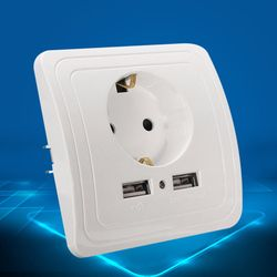ЕС Электророзетка с Светодиодный индикатор Dual USB Порты и разъёмы стены Зарядное устройство адаптер 16a Мощность Outlet Панель CLH @ 8