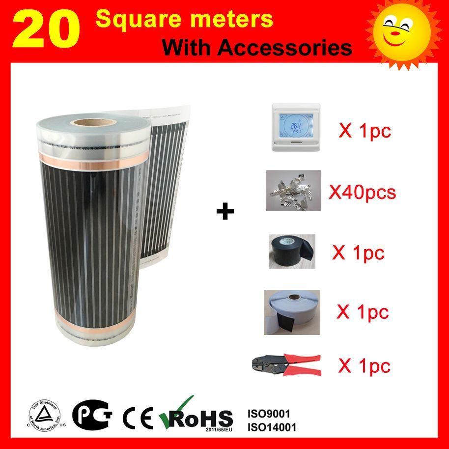 TF Elektrische Heizung Film 20 SQ mit thermostat und zubehör, AC220V infrarot heizung für haus erwärmung