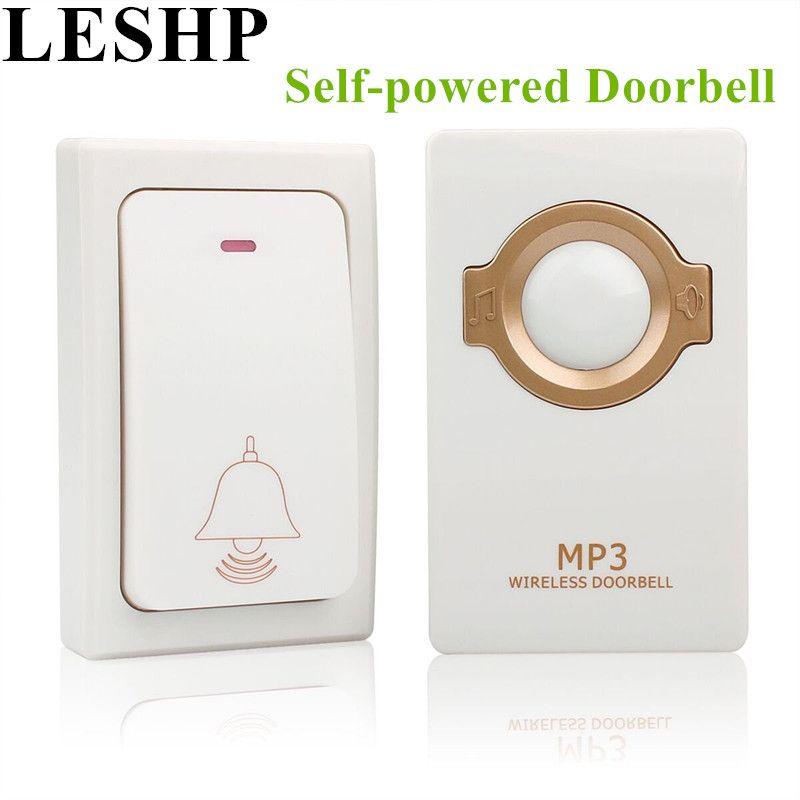 Leshp автономным питанием Беспроводной Дверные звонки кнопку пульта и приемник MP3 работы до 200 м Водонепроницаемый дверной звонок для главная ...