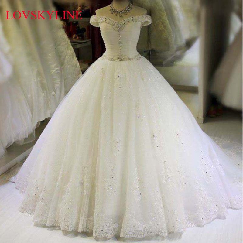 2017 bridal plus size neckline hot long trailing Boat Neck wedding dress Ball Gown