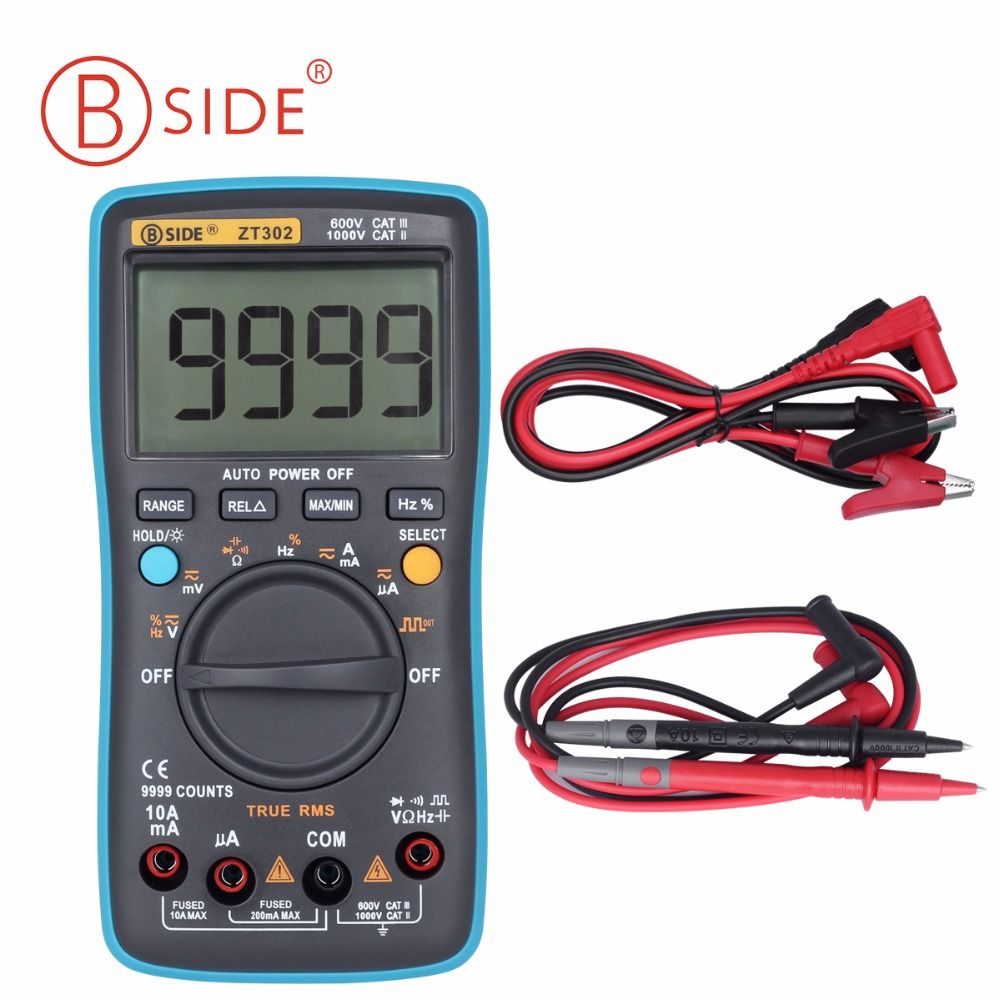 BSIDE ZT301/ZT302 Ture RMS Digital Multimeter 9999 Counts Multifunction AC/DC Voltage Temperature Capacitance Testers DMM RM109