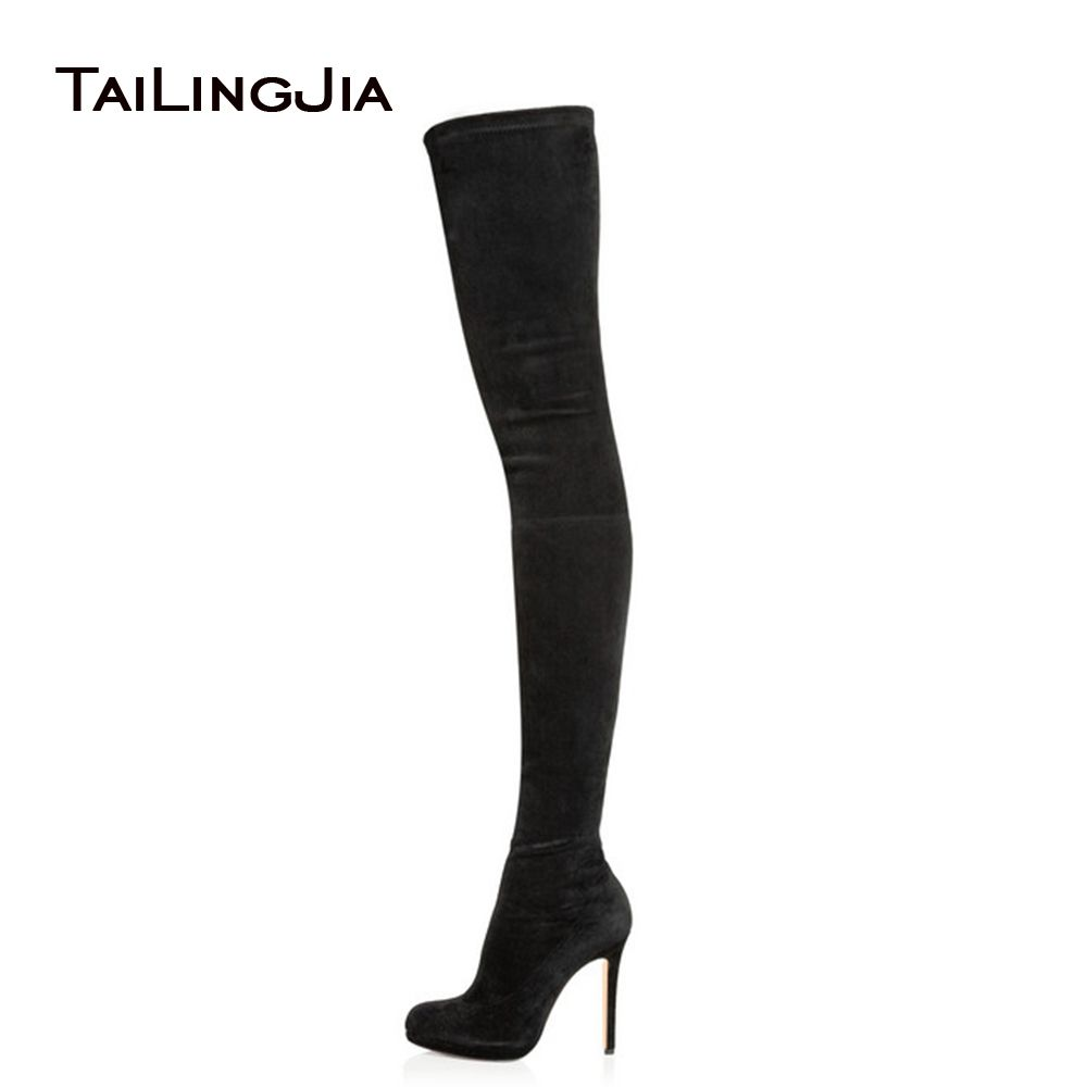 2017 Women Black Stretch Suede Over the Knee Thigh High Boots Ladies Round Toe Platform High Heel Spring Autumn Shoes