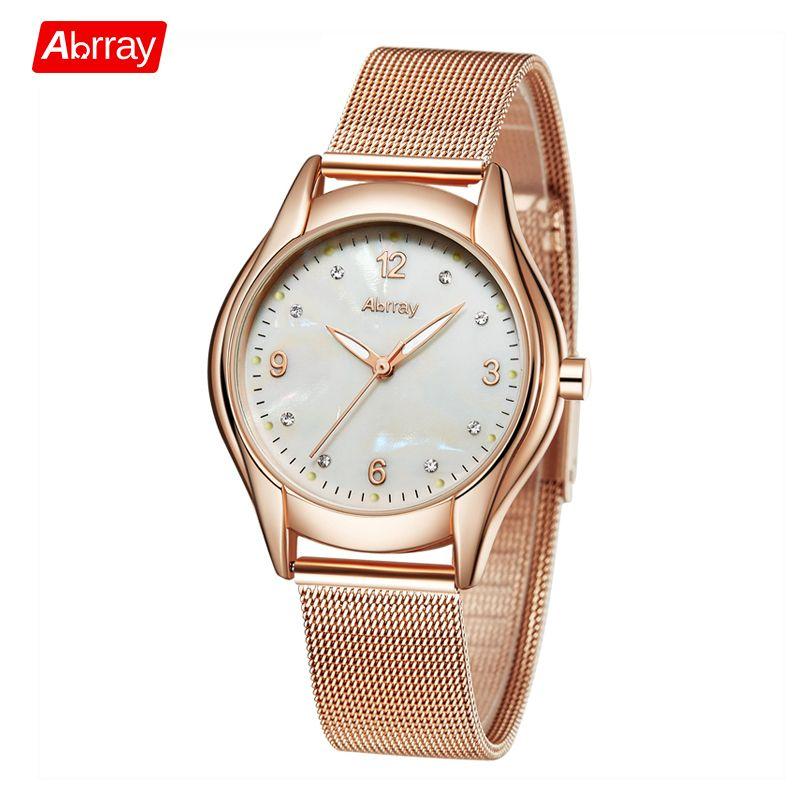 Abrray Mode Shell Gesicht Quarzuhr mit Leuchtzeiger Rose Gold Farbe Edelstahl Falle Mesh Armbanduhren