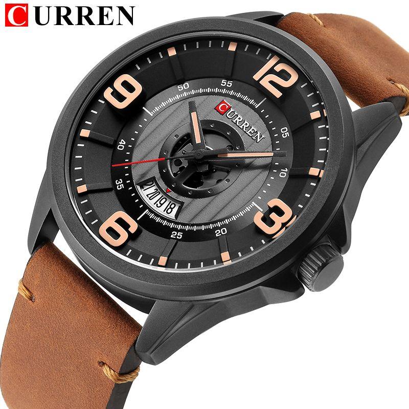 CURREN 2018 fashion top new Luxury Brand Relogio Masculino week Date diaplay Leather strap Men Sports Watches Quartz Clock 8305