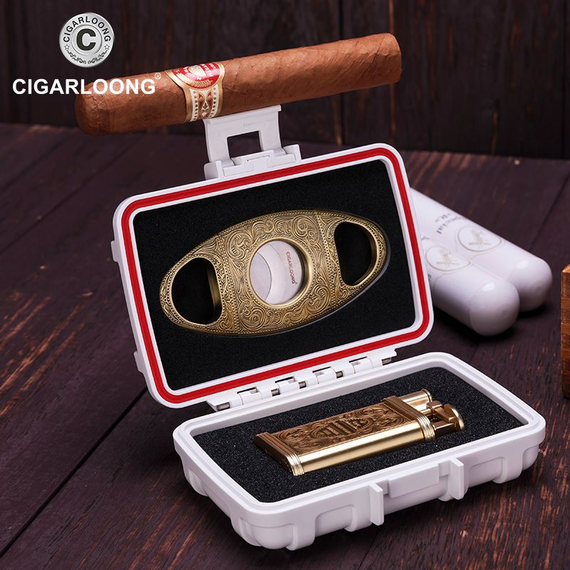 CIGARLOONG cigar lighter set Multifunction sealed box with cigar cutter and lighter CQ-0113