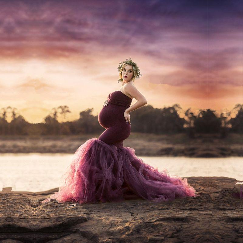 Materninty Tüll Foto Kleid Mutterschaft Lange Tüll Einbau Mermaid Kleid Mutterschaft Fotografie Kleid Mutterschaft Hochzeit Kleid