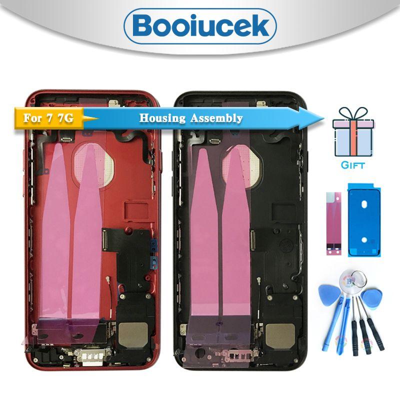 Haute qualité pour iphone 7 7G ou 7 Plus avec câble flexible boîtier arrière assemblage complet couvercle de batterie porte arrière cadre moyen châssis