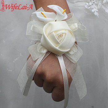 Wifelai-a1 pcs/lot Ivoire Soie Rose Fleurs PE Calla Lily Poignet Fleurs Mariée Ruban De Mariage Corsage Main Fleurs