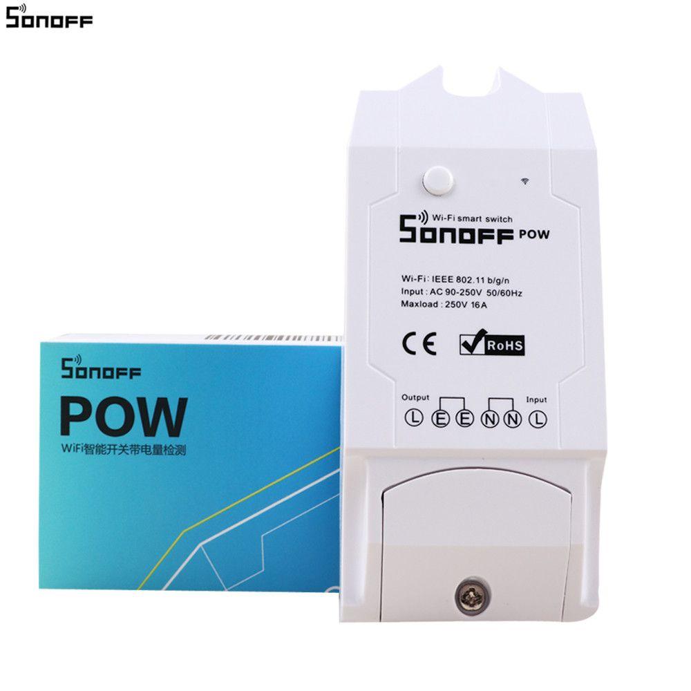 Sonoff Pow Беспроводной дистанционного управления Wi-Fi переключатель ON/OFF 16a с Мощность измерения потребления для бытовой техники IOS Android 35