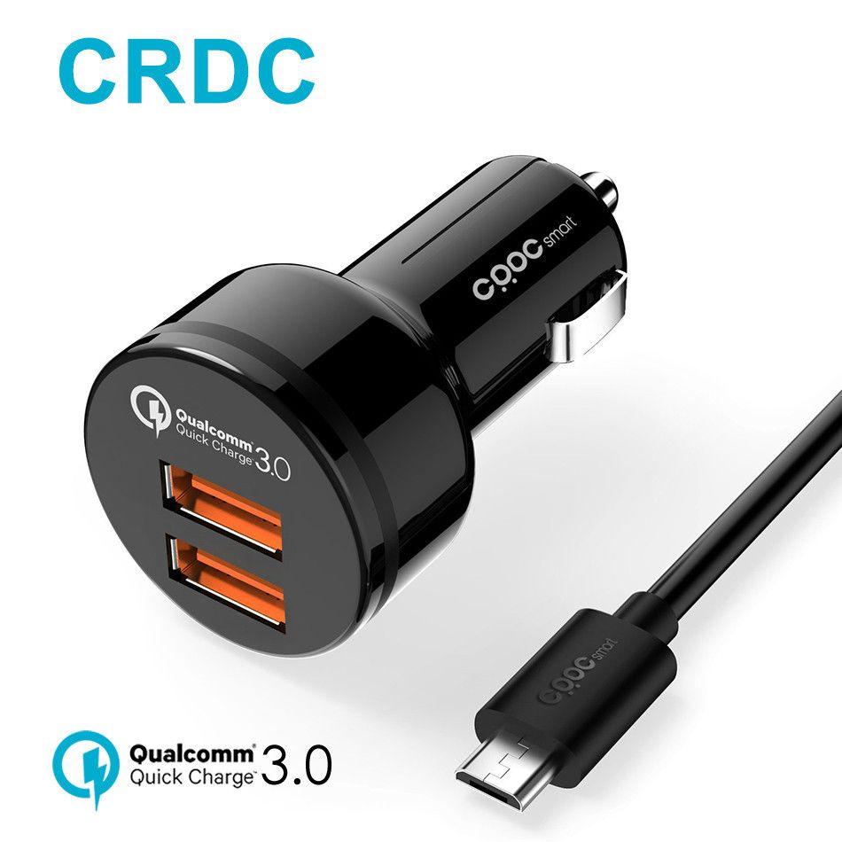 CRDC Charge Rapide 3.0 Chargeur De Voiture double Ports QC 3.0 USB Chargeur de Téléphone De voiture pour iPhone Xiaomi Samsung LG, même comme Aukey voiture chargeur