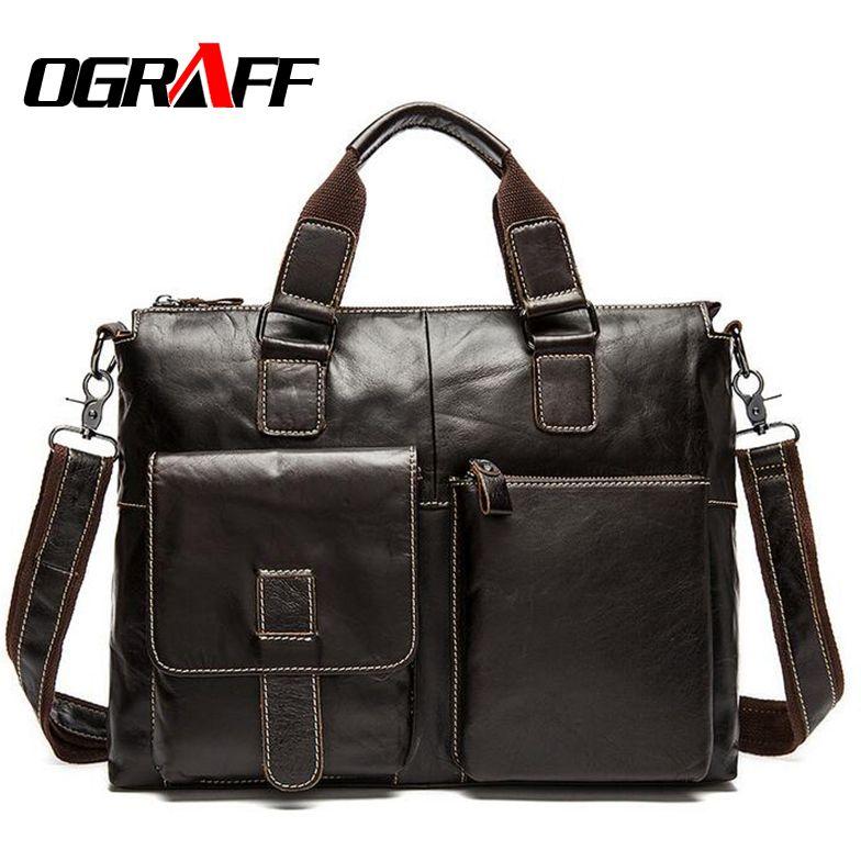 OGRAFF Genuine Leather Bag Men Handbag Designer Briefcase Men Messenger Bag Men Leather Shoulder Bag 2018 Handbag Male Bag