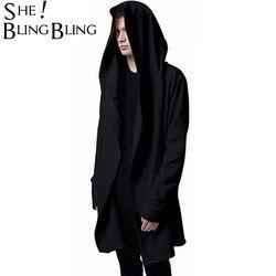 Мужская куртка с капюшоном черный Халат лучшее качество хип хоп Толстовка-Мантия толстовки с длинными рукавами плащ пальто Верхняя одежда ...