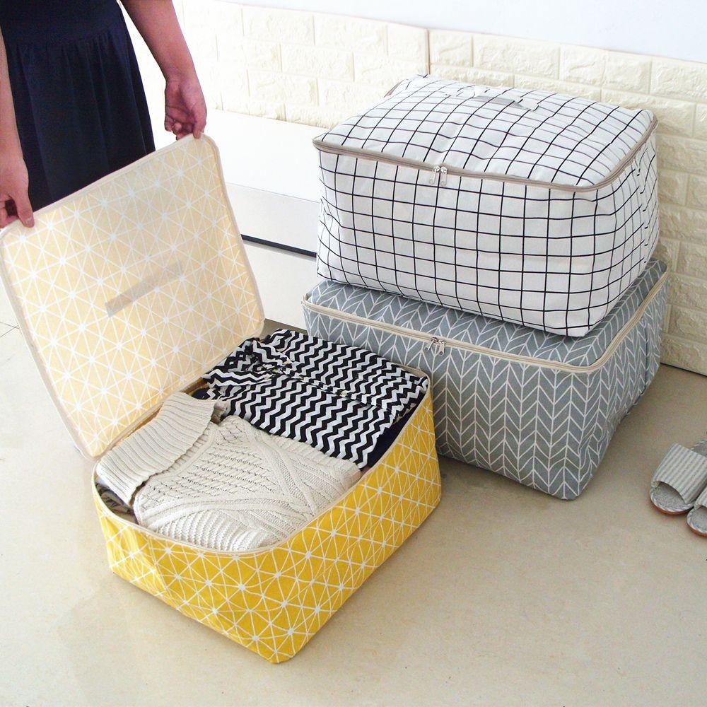 New Simple Cloest Organizer 1 Pcs Durable Storabe Bag Quilt Blnket Sock Stuff Container Portable Folding Closet Tidy Case S M L