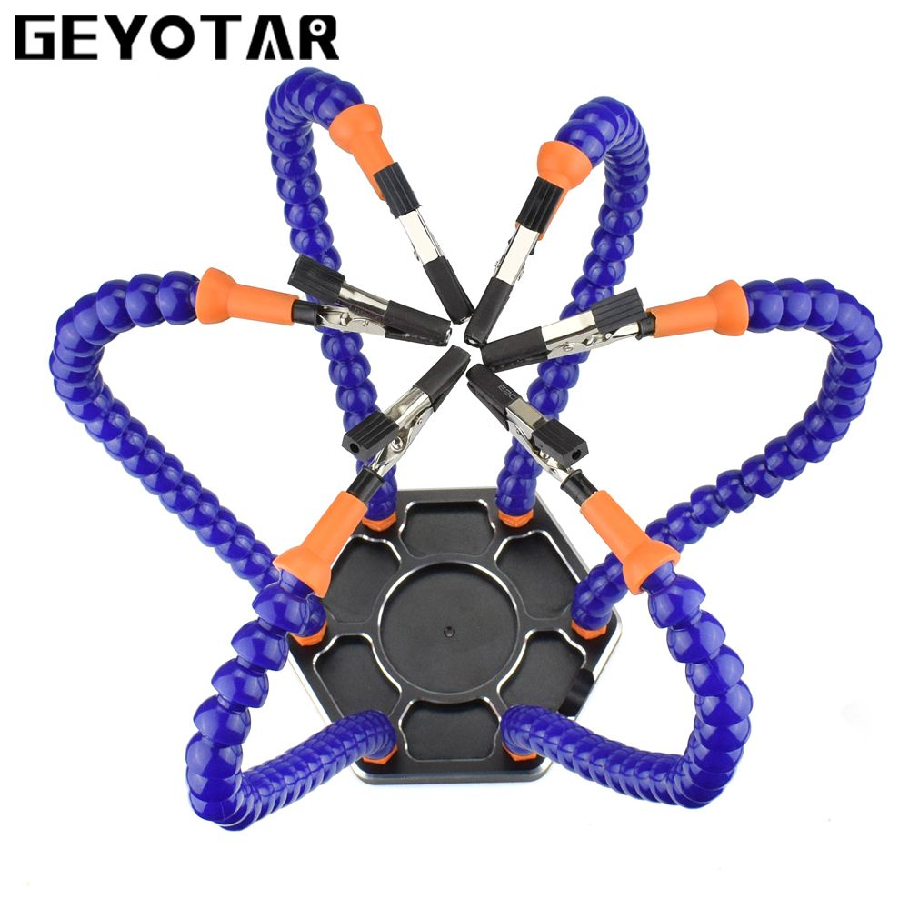 GEYOTAR Multi Soldering Repair Station Solder Assembly Hand Tools with 6pcs Flexible Arms for PCB Board welding tools