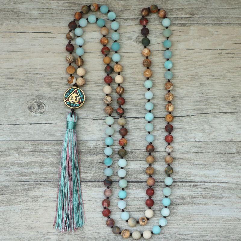 EDOTHALIA Matte pierre naturelle 108 perles colliers pour femmes femme payeur régional népal pendentif Long Mala collier bijoux