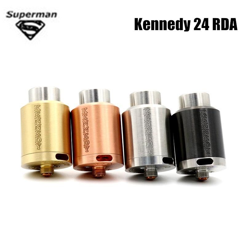 Vaporizer Kennedy 24 RDA 24mm Diameter e cigarettes SS Black Brass Copper PEEK Insulator Rebuildable Atomizer fit 510 box Mod