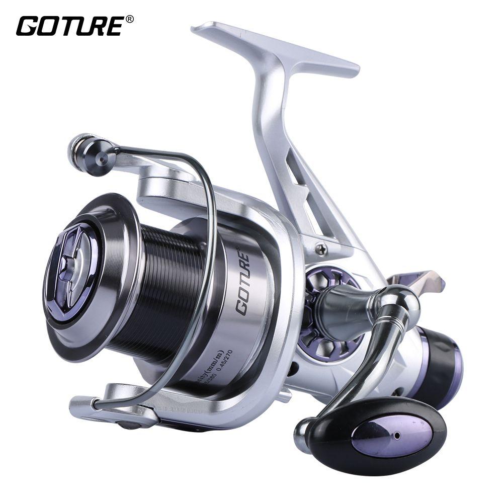 Goture Upgrade Long Casting Spinning Fishing Reel Metal Spool Double Brake Carp Fishing Feeder Fishing Wheel Coil 5.2:1