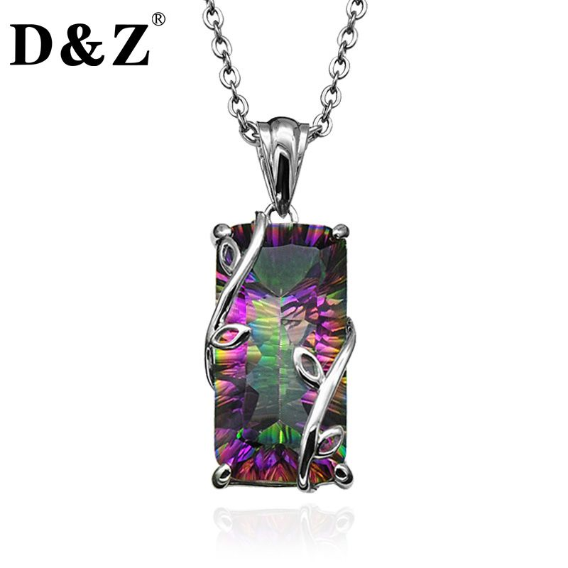 D&Z Romantic Handmade Fire Rainbow Mystic Natural Crystal Pendant Necklace S925 Silver Vintage for Women Necklace Jewelry