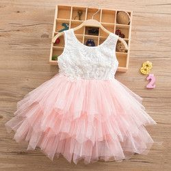 Summer Beading Girl Dress 2019 White Backless Girls Teenage Princess Dress Irregular Tutu 2-6 Years Pink Children Dresses Pink