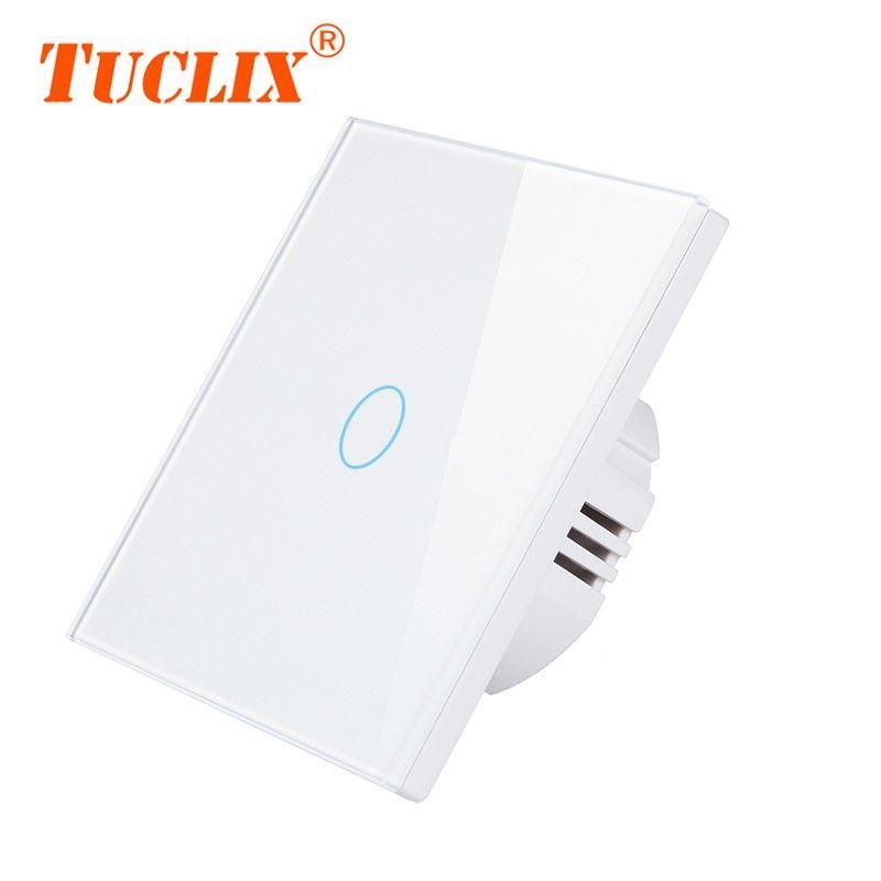 TUCLIX interrupteur tactile 1/2/3 Gang interrupteur mural à écran tactile, panneau de commutation en verre cristal, ne peut pas être contrôlé à distance