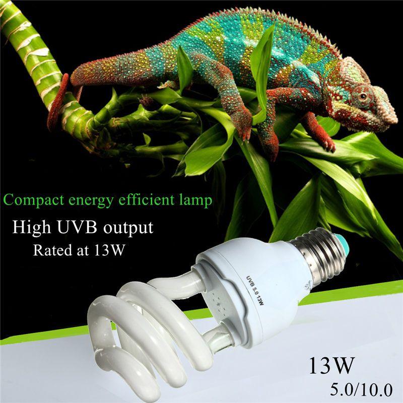 Émetteur de chaleur Ultraviolet Ampoule E27 5.0 10.0 UVB 13 W Reptile Lumière Lueur Lampe Daylight Ampoule pour Tortue Poissons amphibiens