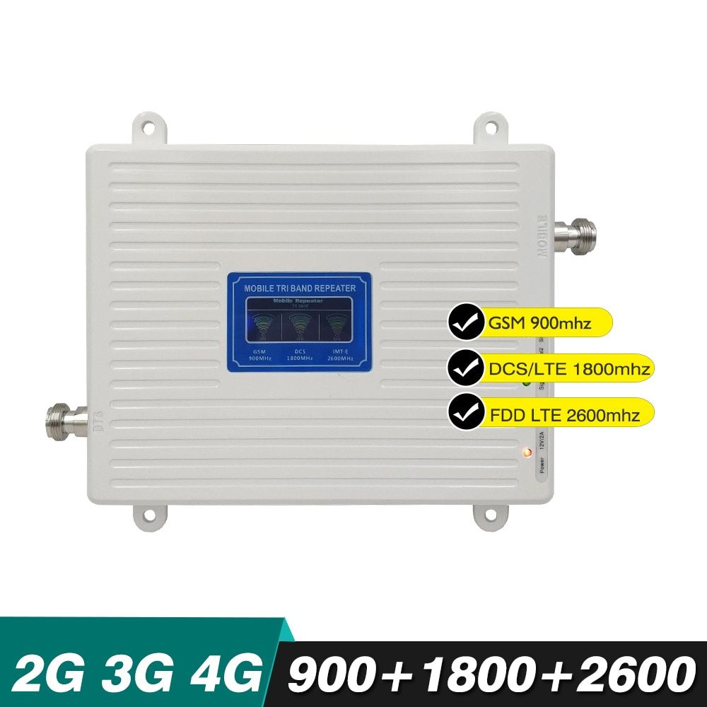 70dB Gain 23dBm 2G 3G 4G Triple Band Booster GSM 900 DCS 1800 LTE 2600 MHz Band 8/7/3 CellPhone Signal Repeater With LCD Display