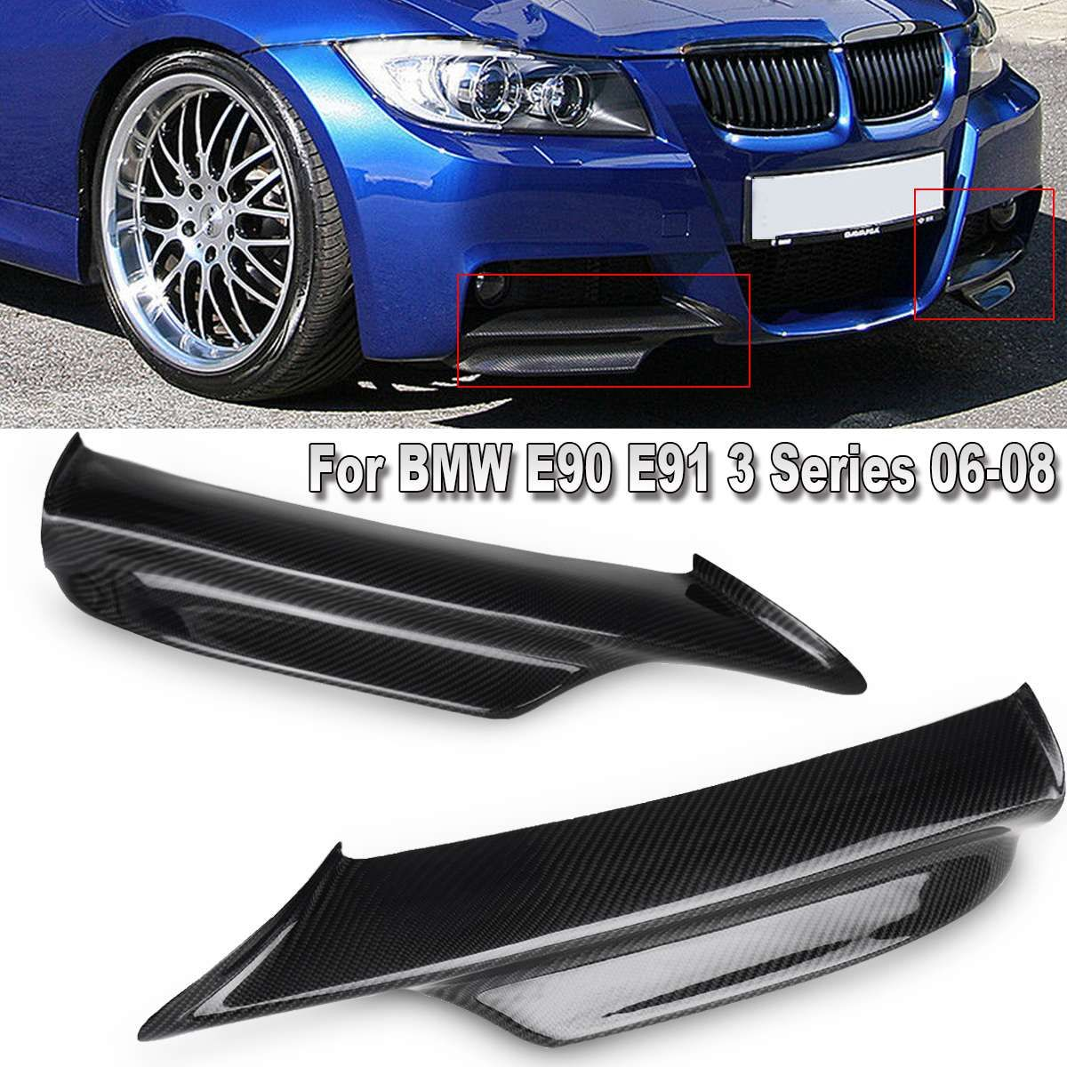 New Black Carbon Fiber Front Bumper Splitters for BMW E90 E91 3 Series 2006 2007 2008