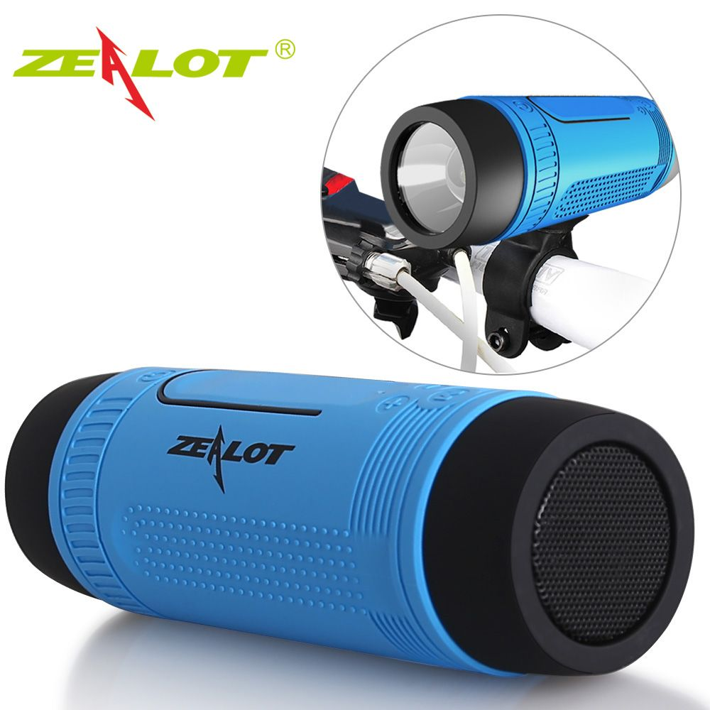 Zealot S1 Column Bluetooth Speaker fm Radio Portable Waterproof Outdoor bicycle Wireless Speaker flashlight+PowerBank+Bike Mount