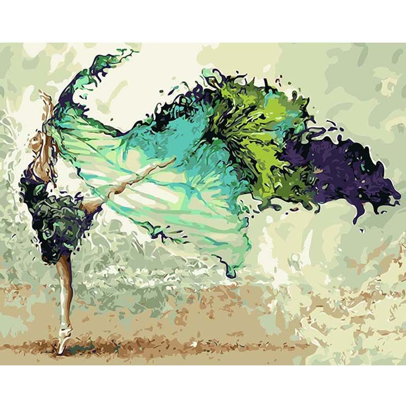 Painting By Numbers DIY Dropshipping 40x50 60x75cm Flying dreams dancing youth Figure Canvas Wedding Decoration Art picture Gift