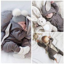 2016 Nouveau-Né Infantile Bébé Fille Garçon Vêtements Mignon 3D Lapin oreille Barboteuse Salopette Combishort Automne Hiver Chaud Bebes Barboteuses Un pièce