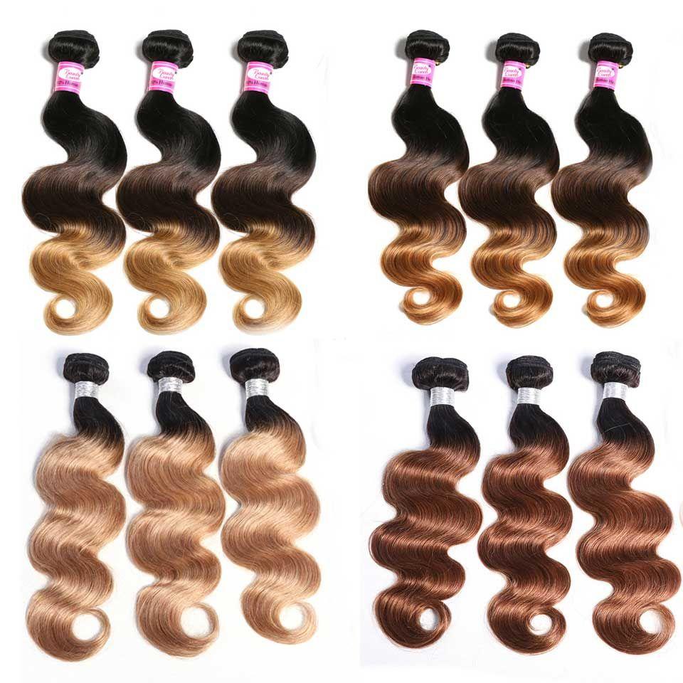 Ombre cheveux humains paquets Ombre cheveux brésiliens armure paquets vague de corps paquets colorés miel blond T1B/4/27 Remy Extension de cheveux