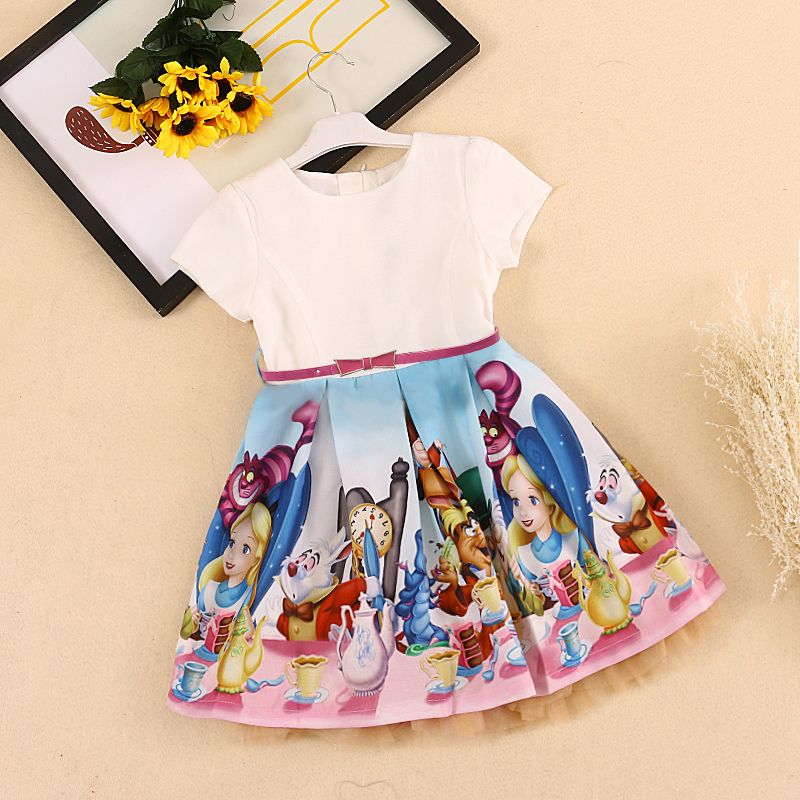 Bongawan Baby Girls Dress 2018 Brand Summer Casual Style Snow White Print Princess Dresses For Party Toddler Girls Clothes 2-10Y