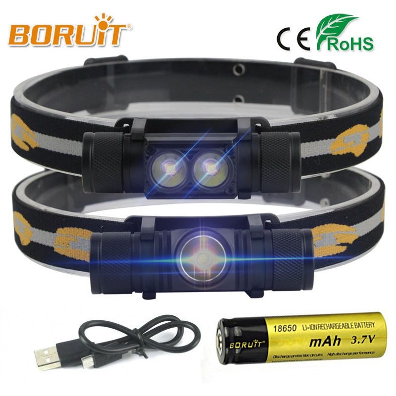 BORUIT Brand 1000LM 3W L2 LED Headlight Mini White Light Head Lamp Flashlight 18650 Battery Headlamp For <font><b>Camping</b></font> Fishing Hunting