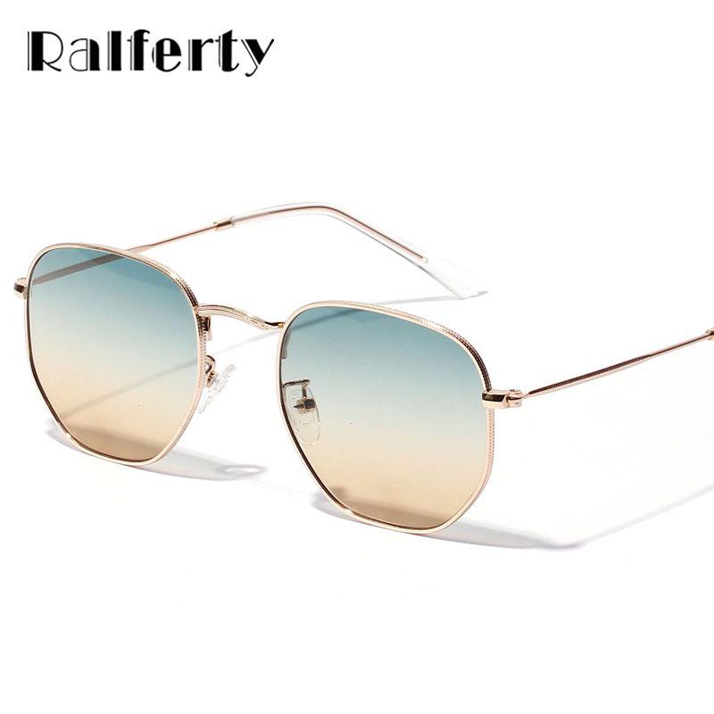 Ralferty Chic Dames Carré lunettes de soleil rondes Femmes Gradient lunettes de soleil Pour Femme monture en métal doré Lunettes Femme Shades X1314