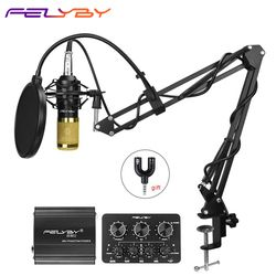 FELYBY profession bm 800 condenser microphone for computer karaoke mic bm800 Phantom power pop filter Multi-function sound card