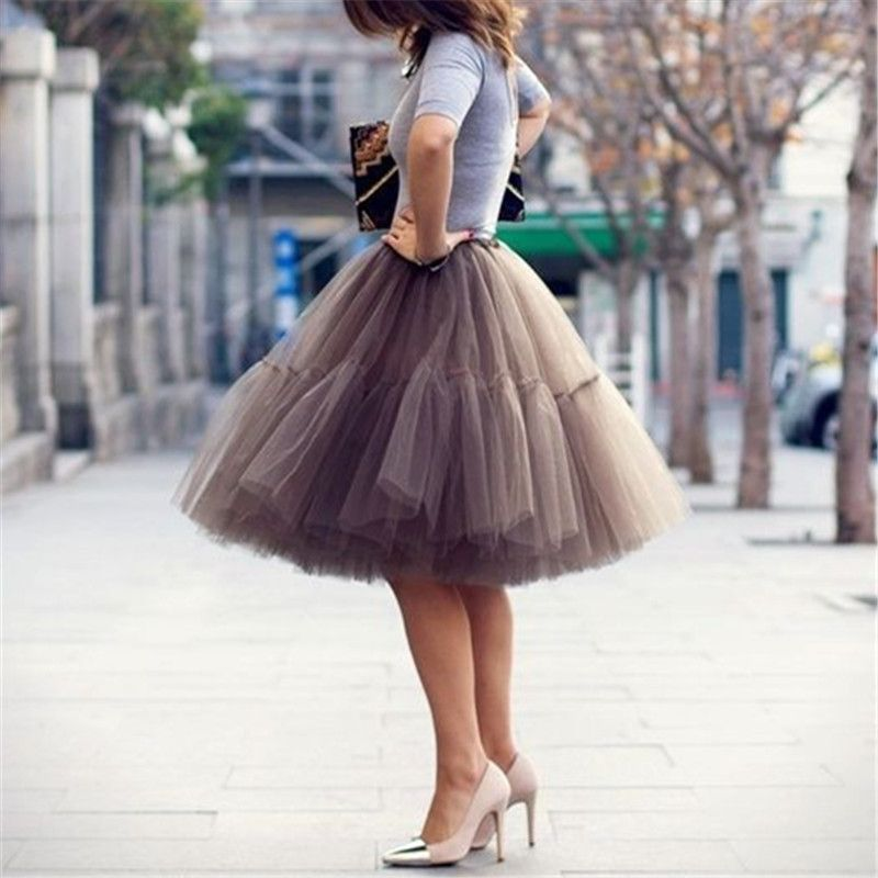 Petticoat 5 <font><b>Layers</b></font> 60cm Tutu Tulle Skirt Vintage Midi Pleated Skirts Womens Lolita Bridesmaid Wedding faldas Mujer saias jupe