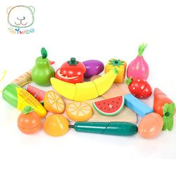 [Toy Woo] Children Gift Magnetic Cut Fruits And Vegetables Meet Seafood Boys And Girls Play Kitchen Wooden Toys