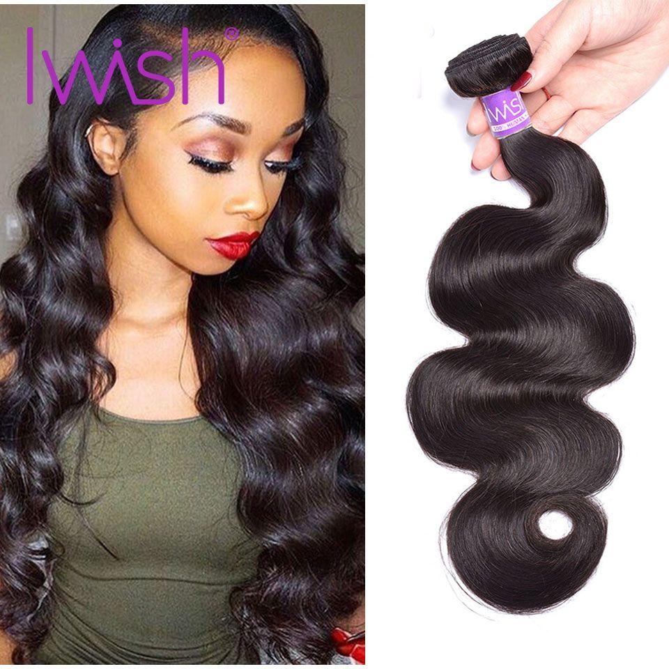 Iwish Hair Brazilian Body Wave Hair Bundles 100% <font><b>Human</b></font> Hair 10-28inch 1/3/4 Bundles Non Remy Hair Brazilian Weaving Bundles