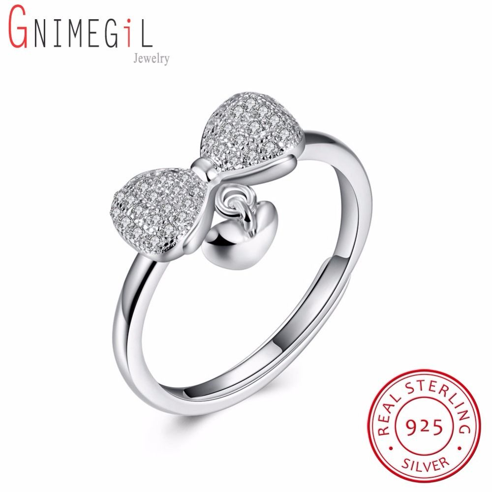 GNIMEGIL Real 925 Sterling Silver Sparkling Bowknot with Love Heart Rings for Girls Lady Fashion Original Pure Silver Jewelry