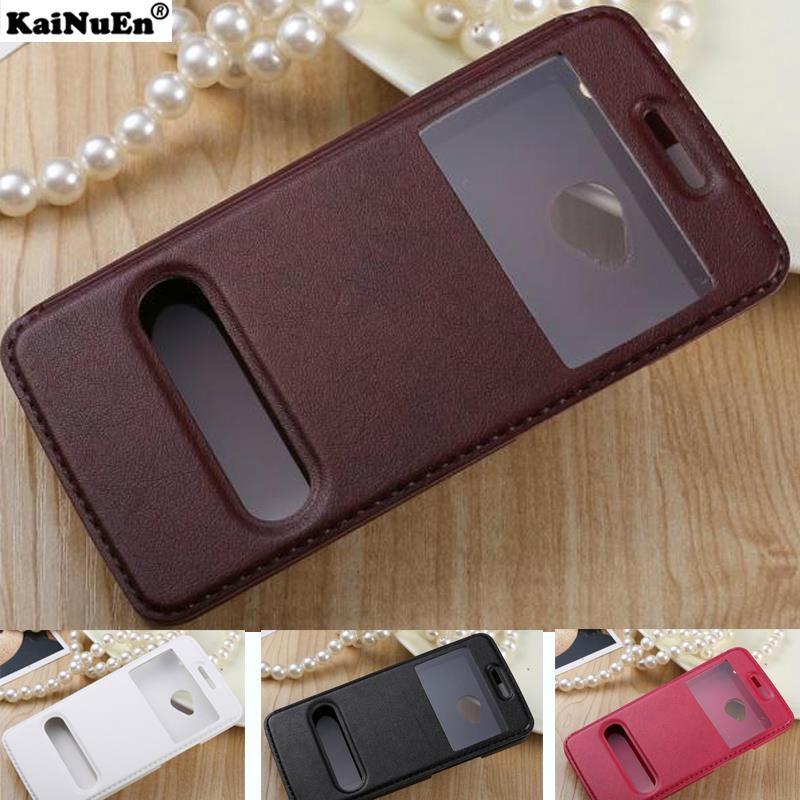 KaiNuEn luxus flip leder pu batterie zurück coque, abdeckung, fall für htc eins m7 m 7 stehen fenster original handy zubehör
